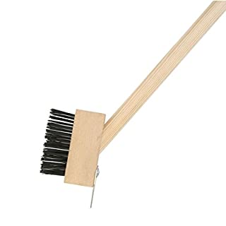 Xclou Unkraut-Fugenbürste mit Fugenkratzer, Terrassenbürstebürste mit langem Stiel, Fugen-Bürste aus Holz für Platten & Fliesen im Garten, Unkrautentferner für Gras & Moos