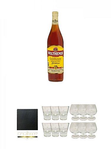 Wilthener Goldkrone Weinbrand 3,0 Liter Magnum + Schiefer Glasuntersetzer eckig ca. 9,5 cm...