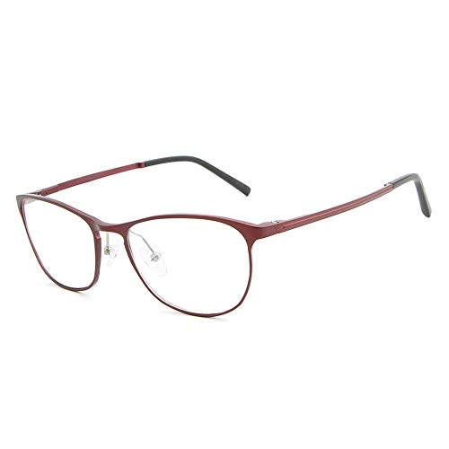 Easy Go Shopping Frame Fashion Brillen Plain Brillen Herren Metal Ultralight Flat Mirror Brillen Sonnenbrillen und Flacher Spiegel (Color : Rot, Size : Kostenlos)