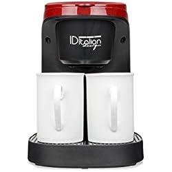Italian Design - Machine à café 2 Services, 2 Tasses incluses, Facile à nettoyer, 450 W, Rouge et noir