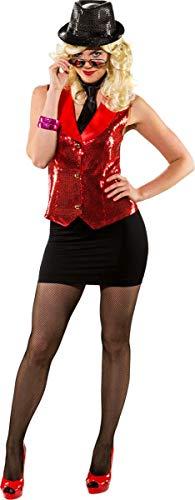 Rote Weste Kostüm - Orlob Damen Kostüm Pailletten Weste rot Karneval Fasching Gr.34/36