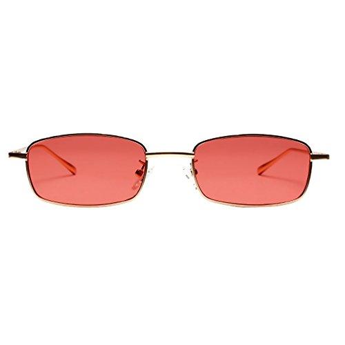 Baoblaze Unisex Mode Bunte Metall Rechteck Sonnenbrille Brillen Gläser Katzenaugen Sonnenbrillen - rot