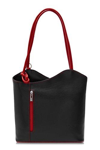 LiaTalia Damen großartige weiche italienische Leder Piping Detail Schulter oder Rucksack Tasche mit Schutztasche - Libby z** (Nicht Piping) - Schwarz - Rot Trim -