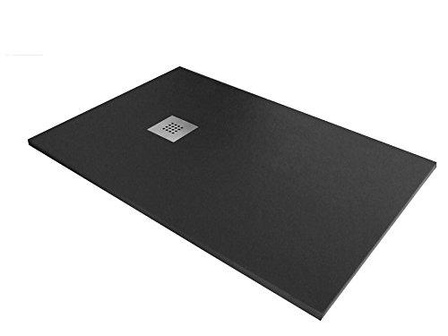 Plato ducha resina textura pizarra. 90x120cm. Altura 3cm. Gris oscuro Ral. 7016