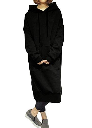 Romacci Damen Lose Lange Sweatshirt mit Kapuze Kleid Langarm Taschen Split Casual Warme Hoodies, Schwarz, 4XL