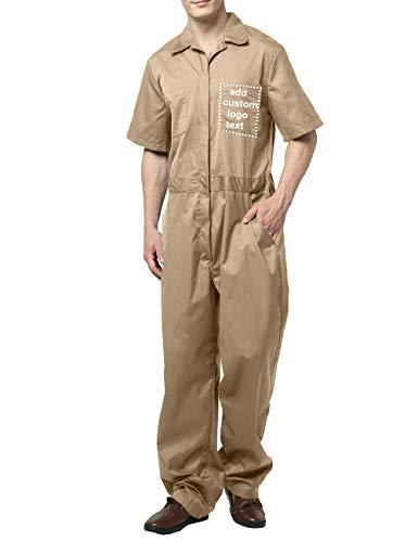 TOPTIE Tuta da lavoro Manica corta Con la vita elastica su misura Abbigliamento da lavoro personalizzato per uomo Cachi Khaki 2XL