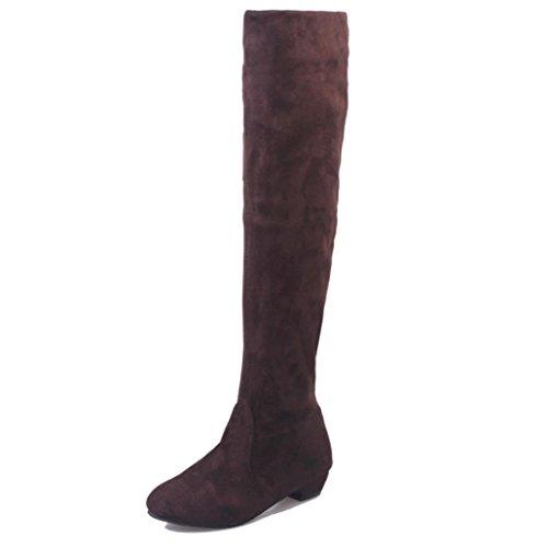 Stiefeletten Damen Schuhe Xinan Herbst Winter Frauen Flache Stiefel Schuhe High Leg Wildleder kurze Lange Stiefel (39, Braun Sexy) (Kleid Braun Stiefel Leder)