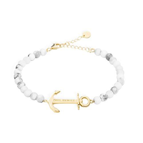 PAUL HEWITT Perlenarmband Damen Anchor Spirit - Armkette Damen (Marmor) mit Anker Schmuck aus Edelstahl (Gold)