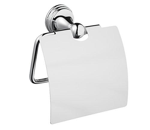 Bisk Sortiment Toilettenpapierhalter mit Abdeckung, Zink Aluminium und Edelstahl, Chrom, 12,7x 5x 12cm