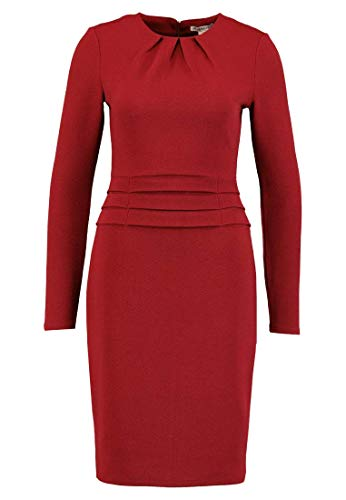 Anna Field Damen Kleid Knielang - Langarm Stretchkleid - Business Dress rot, Größe 40