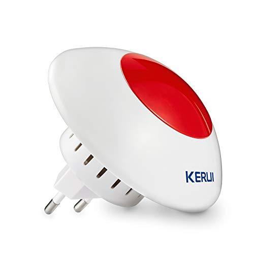 KERUI sans Fil Clignotant intérieure Flash Sirène Factice Trobe Sirène Système d'alarme Sirène d'alarme antivol sirène - Sirène intérieure sans Fil pour Alarme Maison 110dB - J009