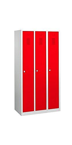 510134 Spind Spint 3er Umkleide Stahl Kleiderschränke Gaderobenschrank Rot kompl. montiert und verschweißt - Stahl-spind