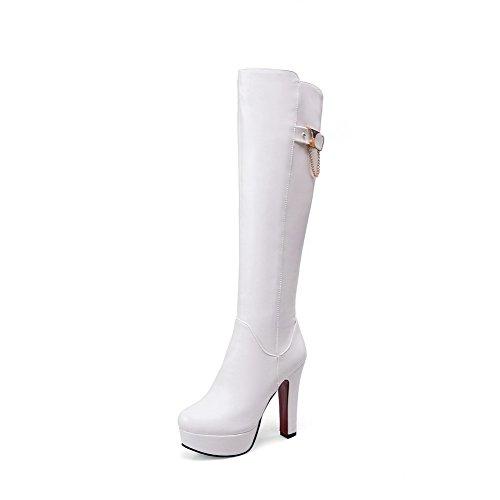 AllhqFashion Damen Hoch-Spitze Rein Reißverschluss Hoher Absatz Stiefel mit Metallisch, Weiß, 39