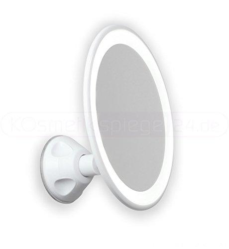 DEUSENFELD SKL185A - LED AKKU Saugnapf Kosmetikspiegel Rasierspiegel Schminkspiegel, ø 18cm, 5X...