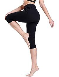 FITTOO Legging de Sport Pantacourt Femme avec Poches Taille Haute Pantalon  Yoga Collant Capri Danse Fitness 824b62939a5