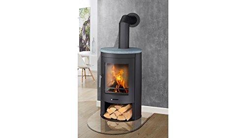 Preisvergleich Produktbild PANADERO Kaminofen Oval, Naturstein, 11 kW, klares Design, Holzfach