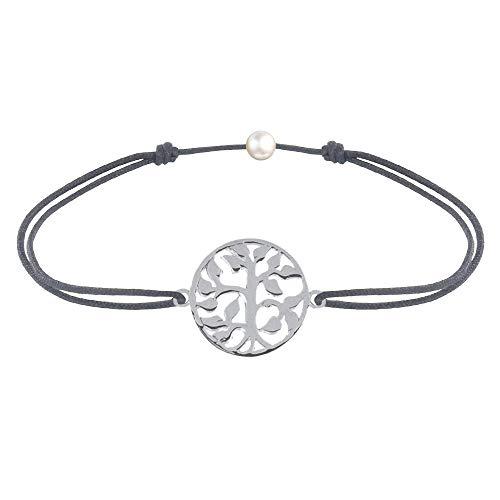 Schmuck Les Poulettes - Sterling Silber Link Armband Lebensbaum - Grau