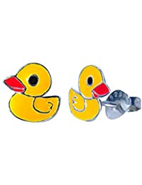 Abhooshan cute and small pair of Yellow Duck Enamel Studs in 925 Silver for girls kids jewellery allergy free stylish gift