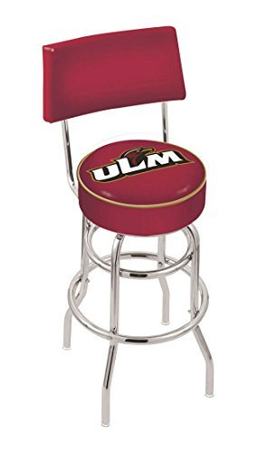 University of Louisiana at Monroe 25 Inch Chrome Double Ring Swivel Bar Stool with Back by Holland Bar Stool Louisiana University