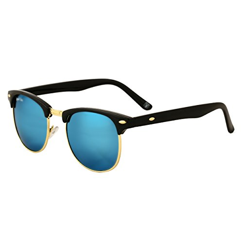 Royal Son UV Protected Clubmaster Round Unisex Sunglasses (RS005CM | 51 | Blue Mirrored Lens)