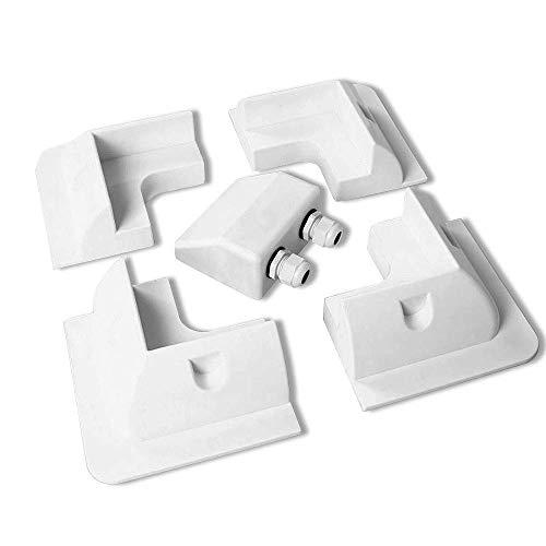 Especificaciones: Adecuado para caravanas, vehículos recreativos, autocaravanas y barcosColor blancoMaterial: plástico ABS (plástico duradero)Dimensiones:Moldes de esquina: 150 (L) x 150 (W) x 60 (H) mmEntrada de cable: 100 (L) x 90 (W) x 46 (H) mm ...