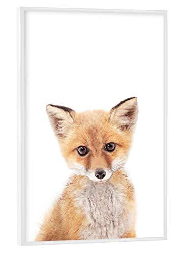 artboxONE Poster mit weißem Rahmen 45x30 cm Tiere Ginger Fox hochwertiger Design Kunstdruck - Bild Animals Fox Forest - Fox-bild Baby
