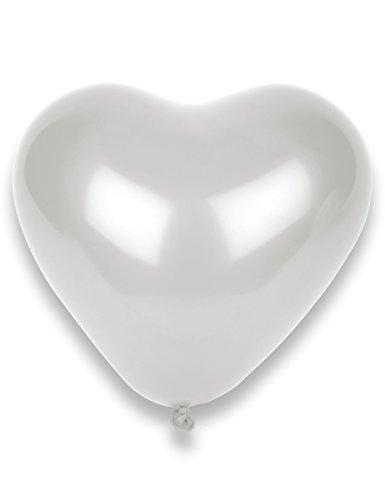 8 globos de corazón blanco