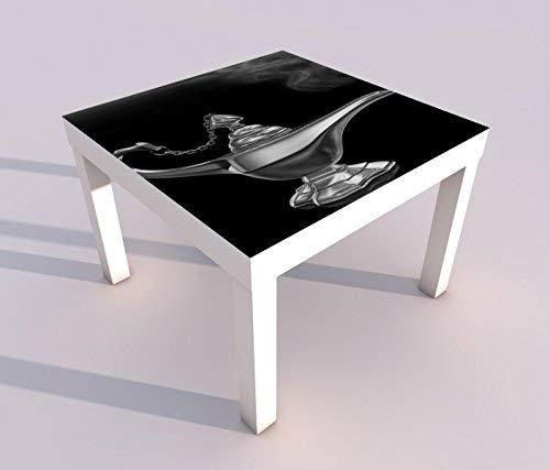 V Druck 55x55cm schwarz weiß Kinderzimmer Märchen Lampe Dschinn Spieltisch Lack Tische Bild Bilder Kinderzimmer Möbel 18A1542, Tisch 1:55x55cm ()