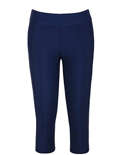 Hilor Damen UV Rash Guard Pants Hosen Jogginghose Running Leggings Capri Tights Navy 46 Capri Running Legging