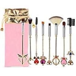 Coshine 8pcs Sailor Moon Gold Pincel de maquillaje con bolsa, Magical Girl Lindo Pinceles de maquillaje cosmético con bolsa rosa