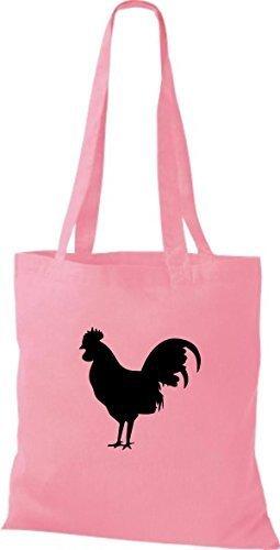 ShirtInStyle Stoffbeutel Hahn Baumwolltasche Beutel, diverse Farbe classic pink