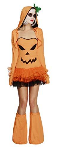 Fever, Damen Kürbis Kostüm, Tutu-Kleid mit abnehmbaren Trägern, Kapuzenjacke und Überstiefel, Größe: L, 45397