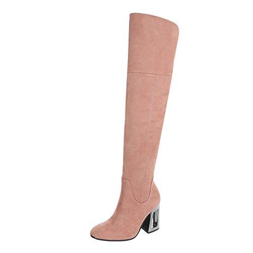 Ital-Design Overknees Damen-Schuhe Overknees Pump High Heels Reißverschluss Stiefel Pink, Gr 40, Dd37-