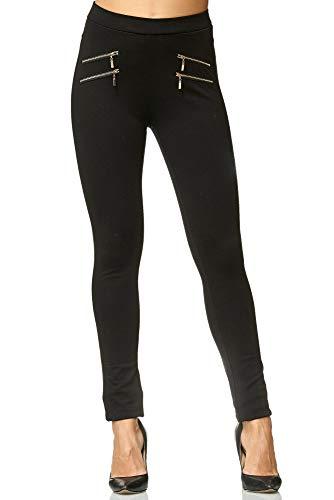 Elara Damen Stretch Hose |High Waist| Skinny Jegging | hoher Bund | Slim Fit | Chunkyrayan A11 Black 46