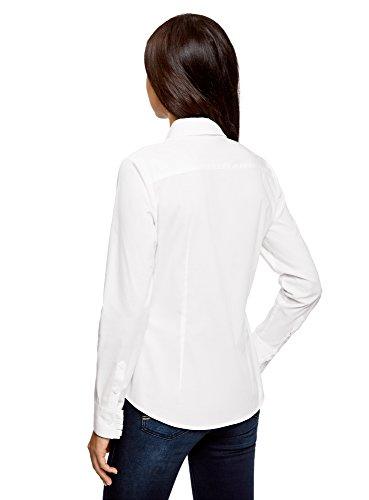 oodji Ultra Damen Baumwollhemd mit Raffungen Weiß (1000N)