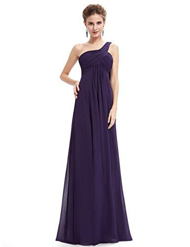 Ever Pretty Damen Lange One Shoulder Chiffon Abendkleider Festkleider Größe 44 Dunkel Violett