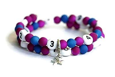 Bracelet d'allaitement de couleur violet et bleu en acrylique