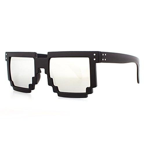 Distressed Pixel Sonnenbrille im Retro Stil 70er 80er (schwarz-silver-verspiegelt)
