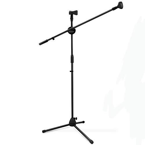 Ohuhu treppiede microfono supporto con clip, doppio microfono stand treppiedi braccio pieghevole, ultra leggero per un facile trasporto, nero