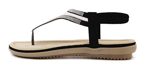 Fortuning's JDS Grenadine respirable Sangle T sandales de strings avec des strass brillants pour femmes Noir