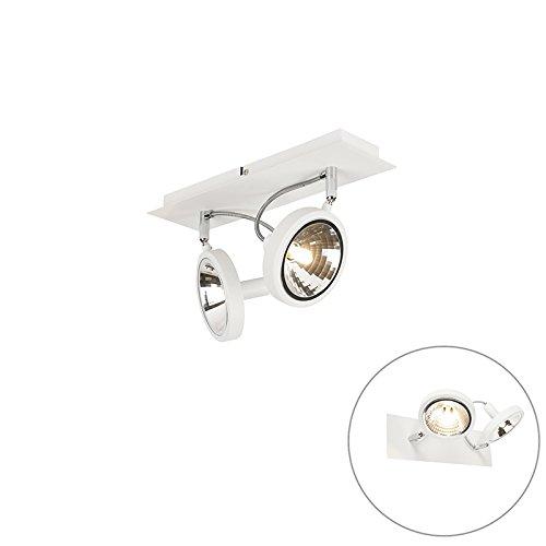 QAZQA Design / Modern / Wand Spot / Spotlight / Deckenspot / Deckenstrahler / Strahler / Lampe / Leuchte Nox 2-flammig weiß / Innenbeleuchtung / Wohnzimmer / Schlafzimmer / Küche Metall Rund / Rechtec