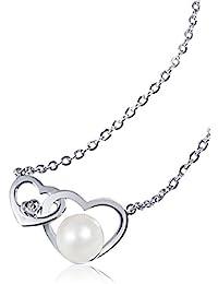 Goldmaid - Pe C5066WG - Collier Femme - Or Blanc 375/1000 (9 Cts) 2.5 Gr - Diamant - Perles d'eau douce