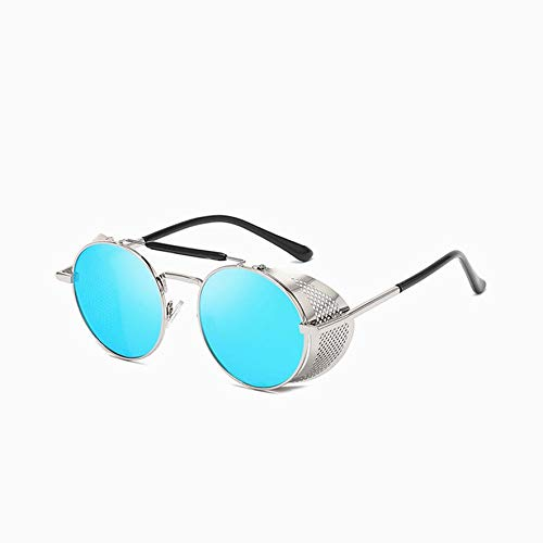 8Eninine Steam Punk Glasses Sonnenbrille Retro Color Film Reflective Toad Glasses Silber & Eisblau