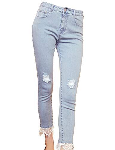 Elf sack donna jeans attillati a vita alta ginocchio strappato orlo in pizzo allungare pantaloni di denim blu s