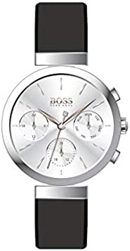 Hugo Boss Women's Silver White Dial Black Leather Watch - 150