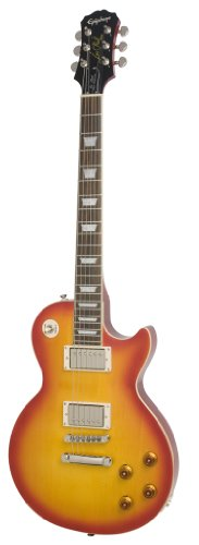 Epiphone Les Paul Tribute Plus Outfit mit Gibson (57 Classic Pickups inklusive Koffer, Faded Cherry Lack, Mahagoni und Ahorn Korpus, '57 Humbuckers, Mahagoni Hals) (Gibson Les Paul-gitarren-saiten)