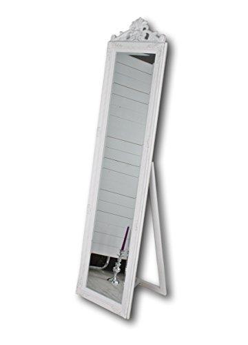 elbmöbel Standspiegel 180 x 45cm groß in weiß antik mit Patina | Spiegel mit Fuß barock aus Holz | im Landhausstil als Badspiegel | Schminkspiegel bzw. Frisierspiegel für das Landhaus | Ankleidespiegel in weiss