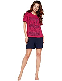 Moonline Pijama de Mujer, Ropa de Estar en casa, con Camiseta de Manga Larga