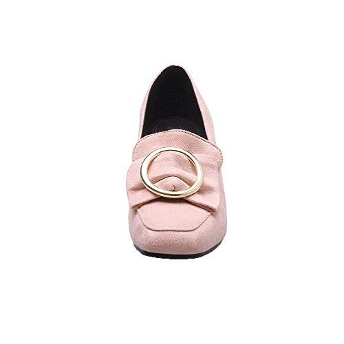 VogueZone009 Donna Plissettato Plastica Tacco Medio Tirare Punta Quedrata Ballerine Rosa