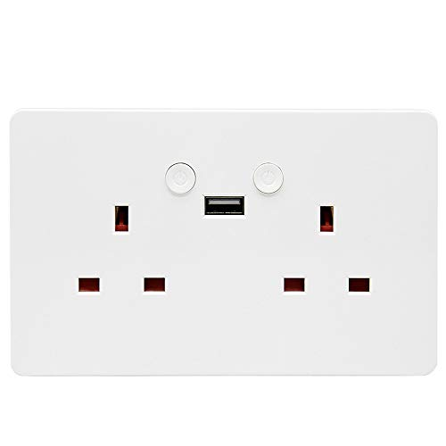 Updated Version WiFi Smart Plug 13A White Double Wall Sockets 2 Gang 2 1A  USB Outlet Voice Control Compatible with Amazon Alexa Echo and Google